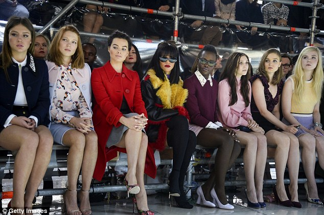 Quite the line up: Elizabeth joined Adele Exarchopoulos, Lea Seydoux, Margot Robbie, Rihanna, Lupita Nyong'o, Bella Heathcote and Elle Fanning at the Miu Miu show