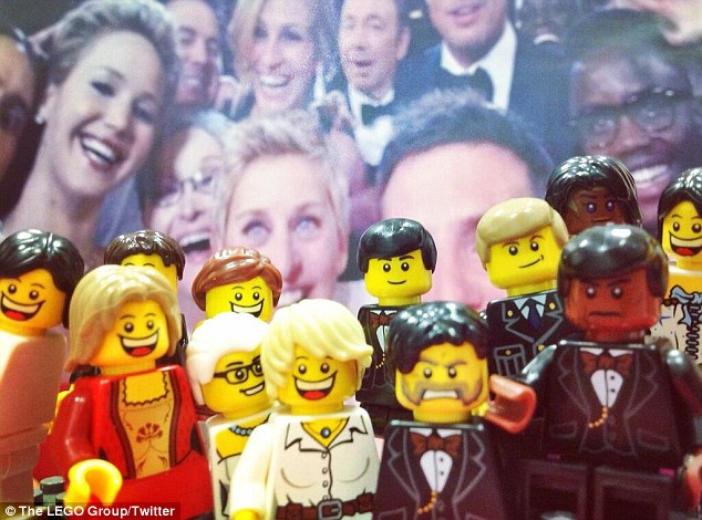 Lego version: The famous selfie also was redone with Lego characters