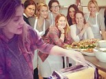 Mama mia! Pregnant Drew Barrymore makes pasta on culinary school visit with friends Cameron Diaz and Reese Witherspoon
