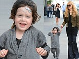Got a boo boo! Rachel Zoe's little boy Skyler is in the wars yet again heading out with Band-Aids on his head
