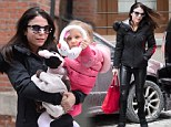 Bundled up: Bethenny Frankel kept warm in an all-black ensemble on Wednesday while daughter Bryn opted for all-pink out in New York City
