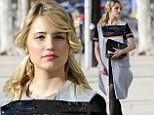 Runway ready... for the pet store? Dianna Agron is dressed to the nines as she sashays down the sidewalk carrying bag of dog food