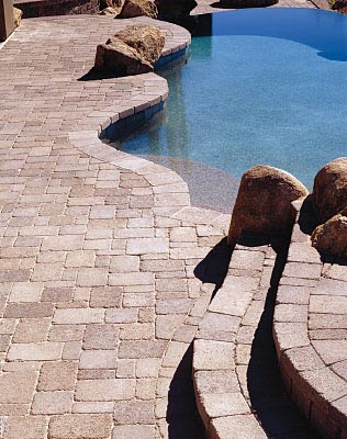Natural Looking Stone Paver Pool Deck