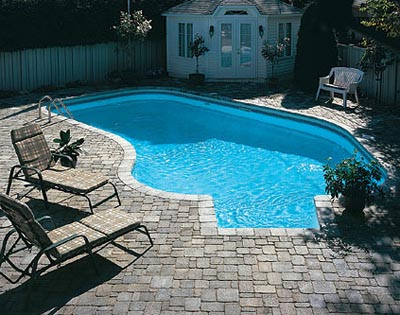 Stone Concrete Deck with Pavers