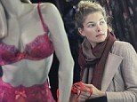 Red number: The model fancied a colourful piece in the New York store