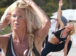 Such good form! Model Victoria Silvstedt flexes her curvaceous figure in tiny crop top and leggings doing yoga on Miami Beach