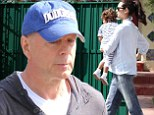 Daddy duty: Bruce Willis joined his wife Emma Heming on Thursday as they picked up their daughter from school in West Hollywood, California