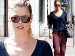 Fashionista: Ali Larter took to the streets of West Hollywood on Thursday in a navy blue scoop neck sweater, teamed with a pair of red polka dotted trousers with a navy blue drawstring