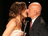 Let's hope she doesn't Total Recall that! Kate Beckinsale shares awkward kiss with Ben Kingsley as she presents him with an award at fundraiser
