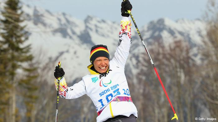 Andrea Eskau of Germany celebrates winning gold at the flower ceremony after victory in the women's 6km Biathlon during day one of Sochi 2014 Paralympic Winter Games Photo by Mark Kolbe/Getty Images