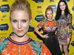 Colourful co-stars: Kristen Bell and Krysten Ritter both stood out in bright exotic prints at the premiere of the Veronica Mars movie at SXSW in Austin, Texas on Saturday