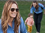 Mommy and me! Molly Sims took her one-year-old son Brooks to the park in Beverly Hills on Saturday