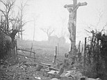 Carnage: Amid the appalling devastation and bodies of dead soldiers, a crucifix stands tall - miraculously preserved from the shell fire. The powerful image was captured after a bloody skirmish in 1917 - and Walter¿s son Volkmar says: 'This photograph is like an accusation - an accusation against war'