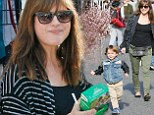 The happy family: Selma Blair and her son enjoyed cookies and sunshine on Sunday