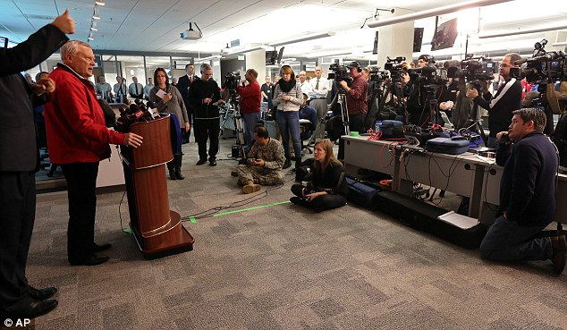 Preparing for the worst: Governor Nathan Deal concludes a press conference at the GEMA command center as forecasters warned of a potentially 'catastrophic' winter ice storm