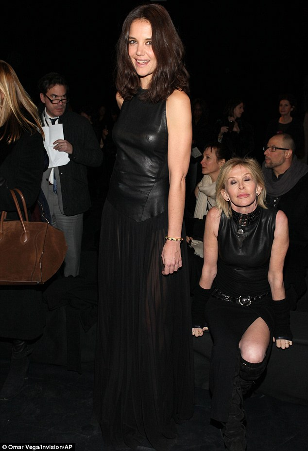 Going hell for leather: Katie Holmes, 35, steals the show at Donna Karan's 30th Anniversary fashion show during Mercedes-Benz Fashion Week on Monday