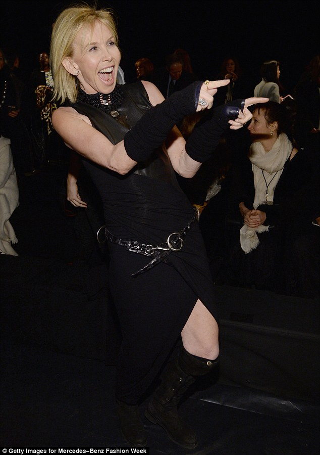 Cutting loose: Trudie Style struck a particularly animated pose backstage at the show