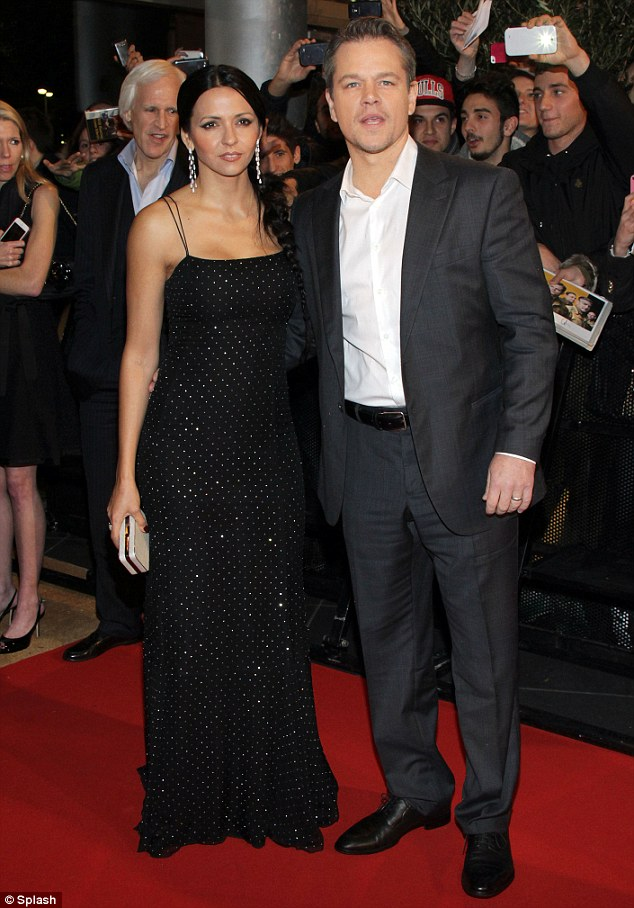 Dazzling: Matt Damon and wife Luciana Barroso cut a stylish pair at the Italy premiere of Monuments Men in Milan on Monday