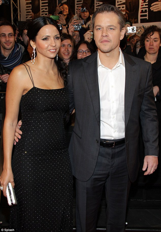 Star quality: Matt Damon looked dashing in a grey suit while Luciana showed off her slender frame in a tight black dress