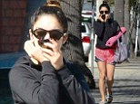 She's ready for Spring Break: Vanessa Hudgens wears teeny tiny pink shorts as she leaves yoga class with matching mat