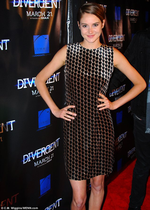 Parading her pins: Shailene Woodley flashed her slim pins in a minidress at the Divergent premiere in Chicago on Tuesday