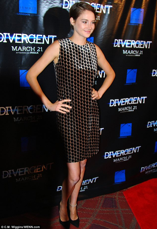 Punishing schedule: While Shailene is currently on a press tour for Divergent, she managed to keep a huge smile on her face despite her busy schedule