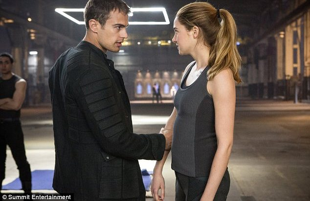 Love interests: The part star in a dystopian future set in Chicago in the science fiction film and their characters fall in love