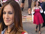The 80s are back! Sarah Jessica Parker wears stirrup leggings and fuschia coloured dress to launch shoe line in Florida