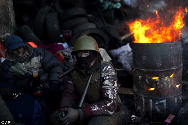 An opposition supporter warms himself next to a fire in a barricade near Kiev's Independence Square