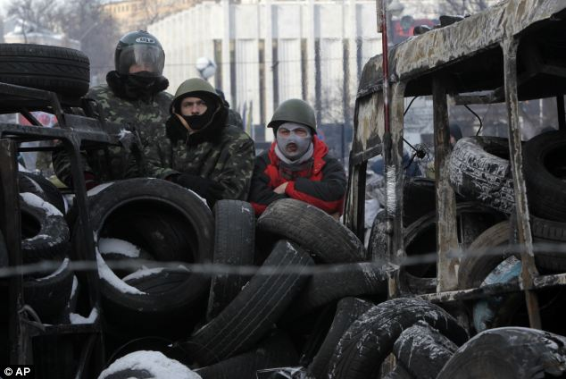 Barricade: Protesters stare at riot police from behind a pile of rubble in central Kiev earlier this afternoon