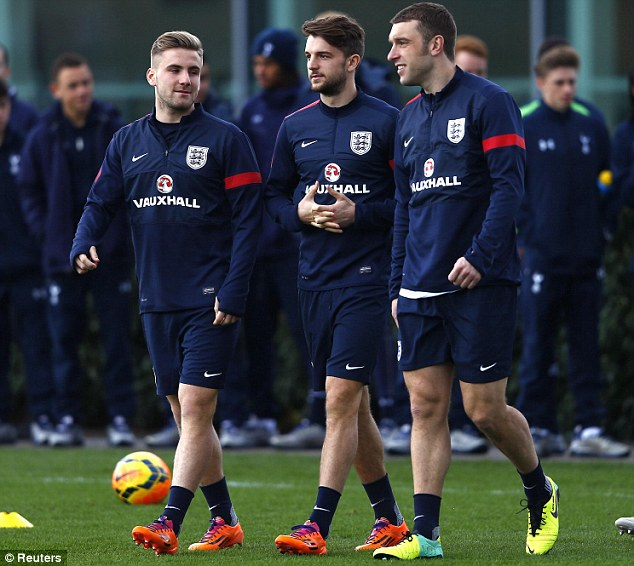 Three amigos: Southampton trio Shaw, Adam Lallana and Rickie Lambert are looking to be included in England's final 23-man squad for Brazil