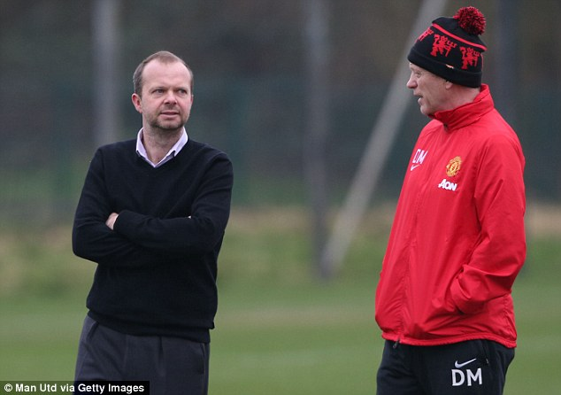 Decisions to make: Moyes (next to Ed Woodward) is understood to want as many as eight new signings