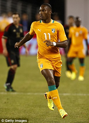 Didier Drogba of Ivory Coast plays against Mexico in 2013