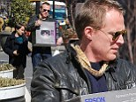 Even superheroes need office supplies: Paul Bettany out shopping for a printer