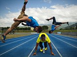 Creative licence: The freerunners had no chance of beating Yohan Blake, so instead they tried to out-style him