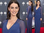 Green-eyed temptress Jessica Lowndes brings out the blue in sapphire gown at Canadian Screen Awards
