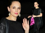 She's All That! New mom Rachael Leigh Cook looks svelte in black satin and leather look on night out in LA