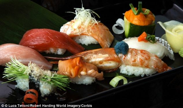 Eating sushi could reduce your risk of heart disease because the omega-3 fatty acids in fish prevent coronary artery calcification. Coronary artery calcification is a predictor of heart disease
