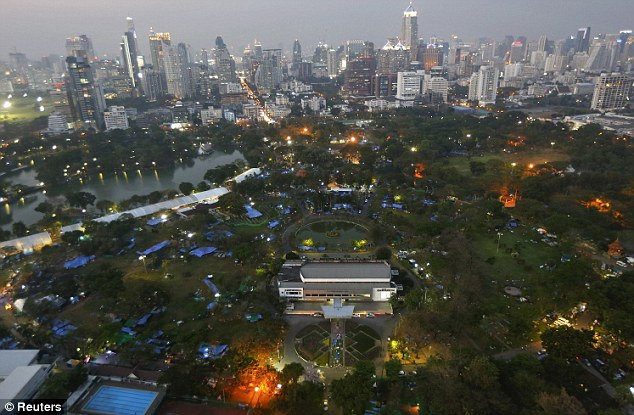 Park life: Protesters have moved their camps from city intersections to Lumpini Park