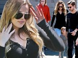 Khloe Kardashian keeps it simple in black top and jeans to film reality show alongside Scott and Mason Disick and Bruce Jenner
