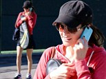 Ashley Greene makes her way to a tennis lesson in LA