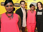 Pretty in pink! Mindy Kaling looks good in matching sleeveless top and trousers as she is joined by castmates at SXSW panel
