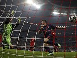 Early strike: Arsenal's Olivier Giroud, right, scores after three minutes against Bayern Munich last season