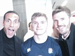 Star day out: (from left to right) Dylan Hartley, Rio Ferdinand, Owen Farrell and Michael Carrick pose with the triple crown trophy after England's victory over Wales
