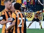 It's Pardy time! Meyler celebrates Hull goal by headbutting corner flag - a week after infamous clash with Pardew