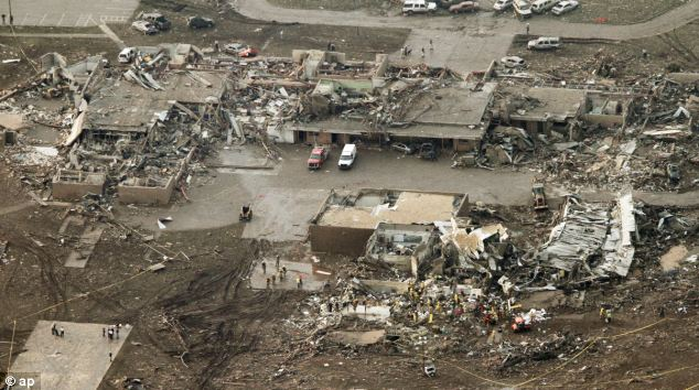 Areas of the town, including the Plaza Towers Elementary School (pictured) were leveled by the tornado