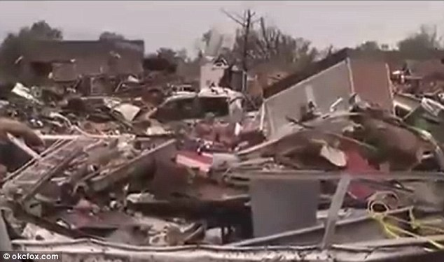 Destroyed: A mound of rubble was all that was left of the gas station