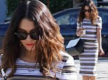 Brunette beauty: Vanessa Hudgens donned a simple and flattering striped ensemble on Monday for a lunch outing in Los Angeles