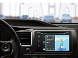 While driving, CarPlay can guess destinations by scanning the phone's calendar for appointments and when used with Apple Maps, pictured, Siri will give instructions, warn of any traffic incidents and keep the driver updated with the estimated time of arrival. Drivers can also ask Siri for turn-by-turn directions