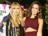 Stunning: Rachel Zoe posed with a midriff baring Jessica Alba on Tuesday night at the Nylon bash in Los Angeles on Monday night